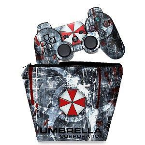 KIT Capa Case e Skin PS3 Controle - Resident Evil