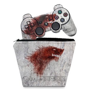 KIT Capa Case e Skin PS3 Controle - Game Of Thrones