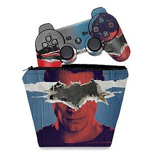 KIT Capa Case e Skin PS3 Controle - Batman Vs Superman