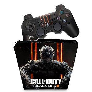 KIT Capa Case e Skin PS3 Controle - Call Of Duty Iii