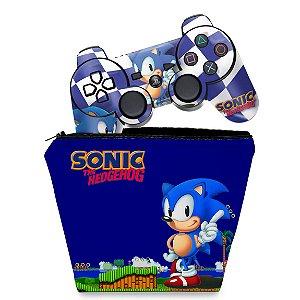 KIT Capa Case e Skin PS3 Controle - Sonic Hedgehog