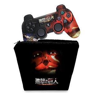 KIT Capa Case e Skin PS3 Controle - Attack On Titan #b