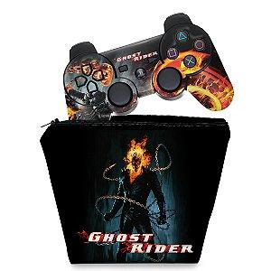 KIT Capa Case e Skin PS3 Controle - Ghost Rider Motoqueiro #b