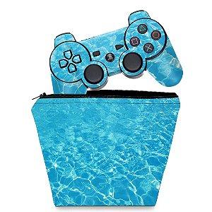 KIT Capa Case e Skin PS3 Controle - Aquático Água