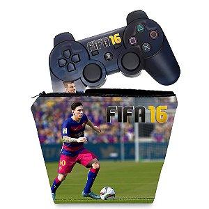 KIT Capa Case e Skin PS3 Controle - Fifa 16