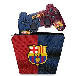 KIT Capa Case e Skin PS3 Controle - Barcelona