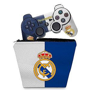KIT Capa Case e Skin PS3 Controle - Real Madrid