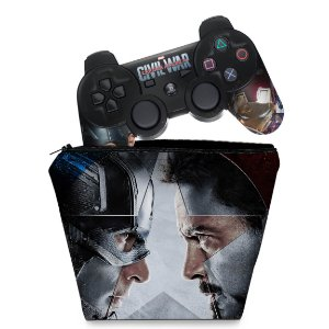 KIT Capa Case e Skin PS3 Controle - Capitão America Guerra