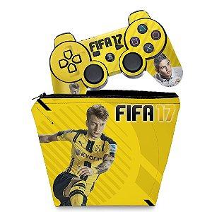 KIT Capa Case e Skin PS3 Controle - Fifa 17