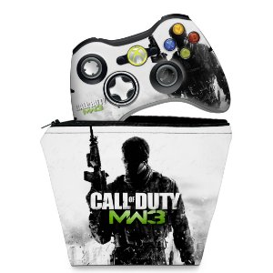 KIT Capa Case e Skin Xbox 360 Controle - Call Of Duty Modern War 3