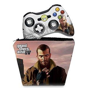 KIT Capa Case e Skin Xbox 360 Controle - Gta Iv