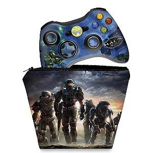 KIT Capa Case e Skin Xbox 360 Controle - Halo Anniversary