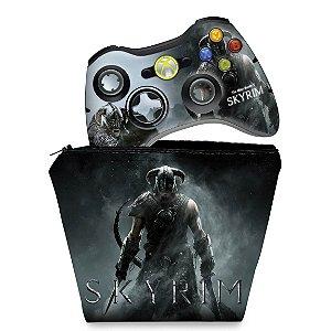 KIT Capa Case e Skin Xbox 360 Controle - Skyrim