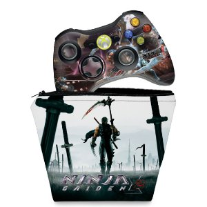 KIT Capa Case e Skin Xbox 360 Controle - Ninja Gaiden 3