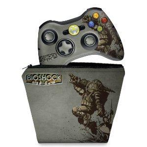 KIT Capa Case e Skin Xbox 360 Controle - Bioshock