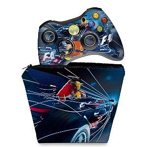 KIT Capa Case e Skin Xbox 360 Controle - Formula 1 #a