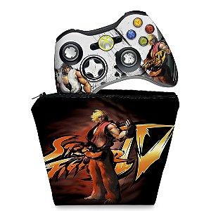 KIT Capa Case e Skin Xbox 360 Controle - Street Fighter 4 #a