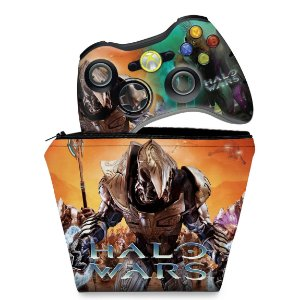 KIT Capa Case e Skin Xbox 360 Controle - Halo Wars
