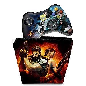 KIT Capa Case e Skin Xbox 360 Controle - Resident Evil 5