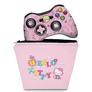 KIT Capa Case e Skin Xbox 360 Controle - Hello Kitty