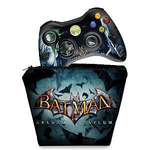 KIT Capa Case e Skin Xbox 360 Controle - Batman Arkham Asylum