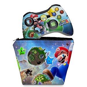 KIT Capa Case e Skin Xbox 360 Controle - Super Mario
