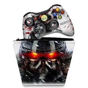 KIT Capa Case e Skin Xbox 360 Controle - Killzone 3