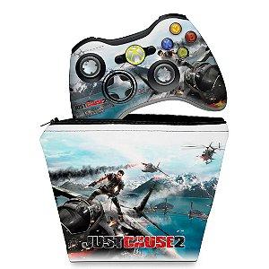 KIT Capa Case e Skin Xbox 360 Controle - Just Cause 2