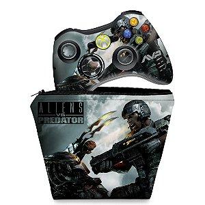 KIT Capa Case e Skin Xbox 360 Controle - Aliens Vs Predators