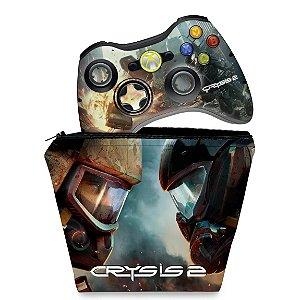 KIT Capa Case e Skin Xbox 360 Controle - Crysis 2