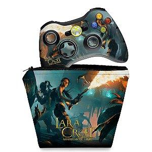 KIT Capa Case e Skin Xbox 360 Controle - Lara Croft Temple Osiris