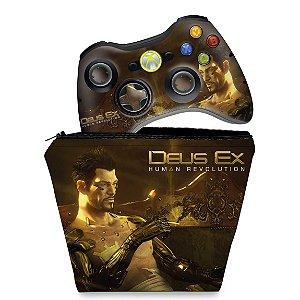 KIT Capa Case e Skin Xbox 360 Controle - Deus Ex