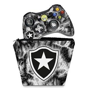 KIT Capa Case e Skin Xbox 360 Controle - Botafogo