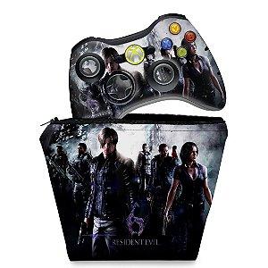 KIT Capa Case e Skin Xbox 360 Controle - Resident Evil 6