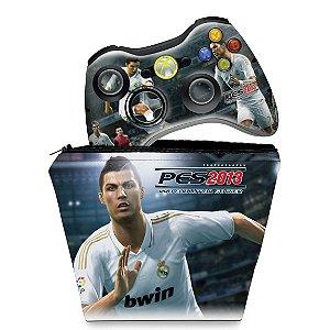 KIT Capa Case e Skin Xbox 360 Controle - Pes 2013