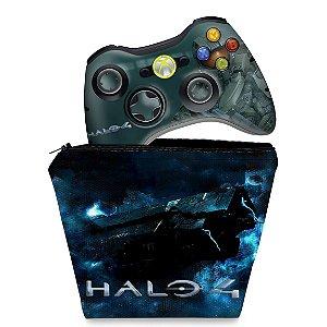 KIT Capa Case e Skin Xbox 360 Controle - Halo 4