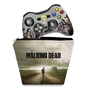 KIT Capa Case e Skin Xbox 360 Controle - The Walking Dead #a