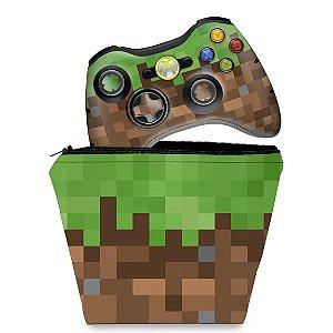 KIT Capa Case e Skin Xbox 360 Controle - Minecraft