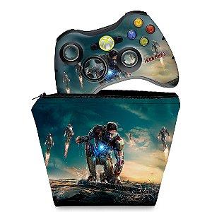 KIT Capa Case e Skin Xbox 360 Controle - Homem De Ferro #a