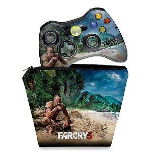 KIT Capa Case e Skin Xbox 360 Controle - Far Cry 3