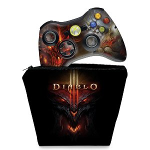KIT Capa Case e Skin Xbox 360 Controle - Diablo 3