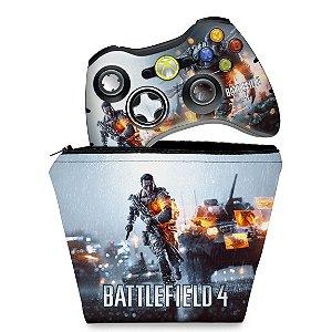 KIT Capa Case e Skin Xbox 360 Controle - Battlefield 4