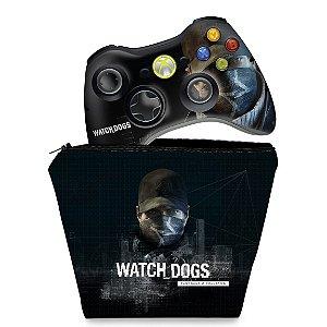KIT Capa Case e Skin Xbox 360 Controle - Watch Dogs