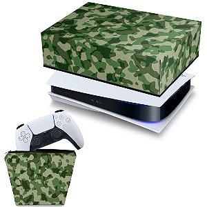 KIT PS5 Capa e Case Controle - Camuflado Verde