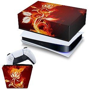 KIT PS5 Capa e Case Controle - Fire Flower