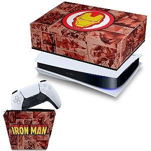KIT PS5 Capa e Case Controle - Homem De Ferro Comics