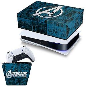 KIT PS5 Capa e Case Controle - Avengers Vingadores Comics