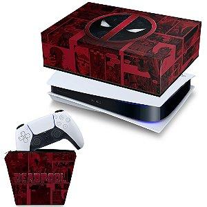 KIT PS5 Capa e Case Controle - Deadpool Comics