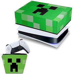 KIT PS5 Capa e Case Controle - Creeper Minecraft