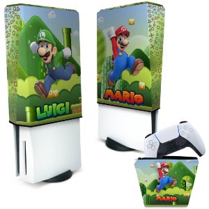 KIT Capa PS5 e Case Controle - Super Mario